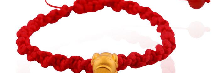 多边金都00000312精编红绳手镯千足金手链(约1.35g)